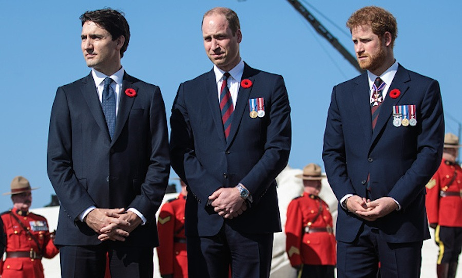 Princes William and Harry joined Prime Minister Justin Trudeau at the Canadian National Vimy Memorial in France to mark the 100th anniversary of the Battle of Vimy Ridge. <p>Other attendees included Prince Charles, the Right Honourable David Johnston, Governor General of Canada and Justin's wife Sophie and their son Xavier.  