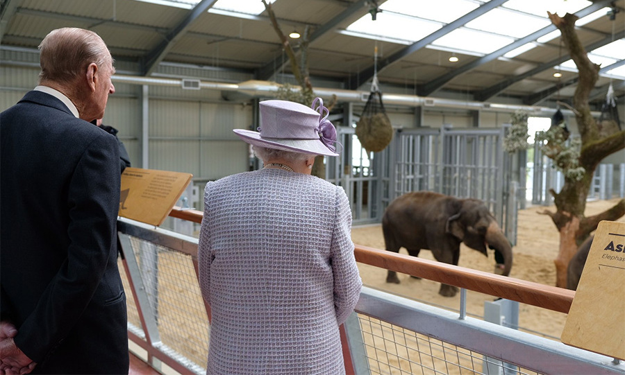 The Queen and Prince Philip met baby Elizabeth the elephant at the new Centre for Elephant Care at Whipsnade Zoo.