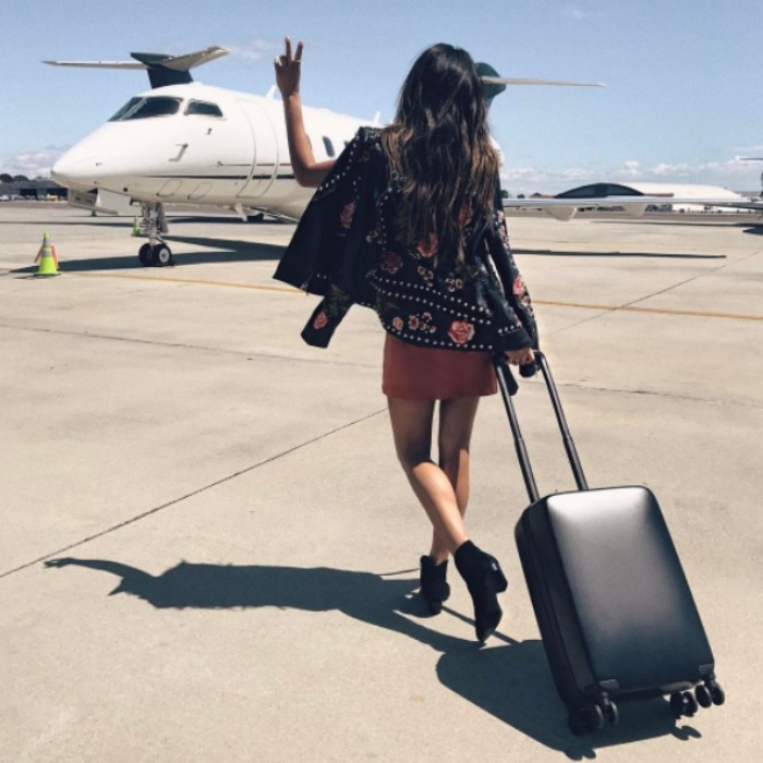 "<em>Pretty Little Liars</em> star Shay Mitchell was ready to take flight. The actress shared a picture of herself boarding her plane to Coachella writing, ""Not a bad way to get from LA ➡️ the desert @velocity.black member perks needed a last minute flight to Coachella! #velocityblack.""