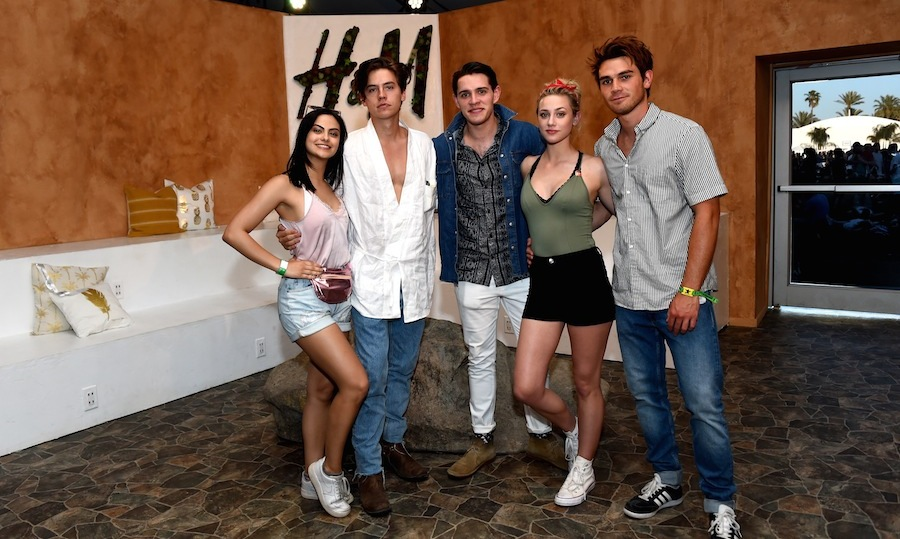The cast of <em>Riverdale</em> (From left: Camila Mendes, Cole Sprouse, Casey Cott, Lili Reinhart and KJ Apa) hit up the H&M Loves Coachella Tent on day one of the festival. 