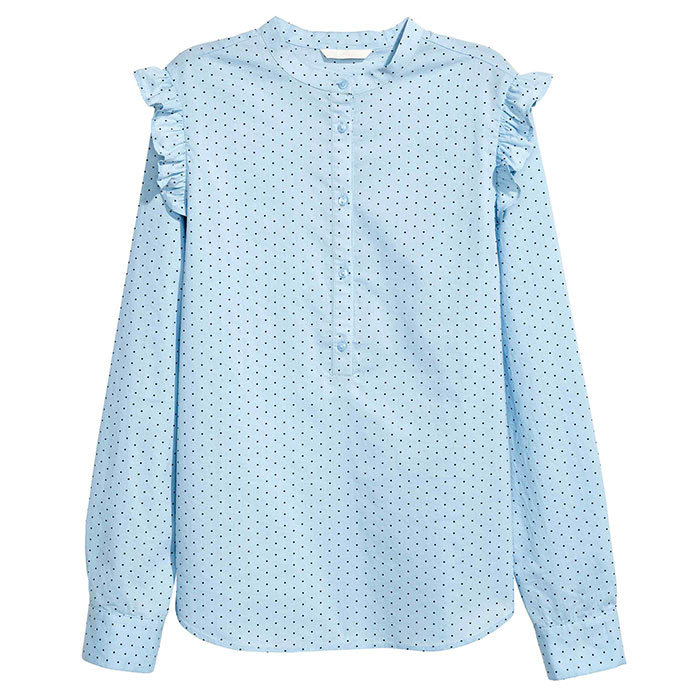 <p>Cotton Blouse in Light Blue Spotted, $20, <em>hm.com</em></p>