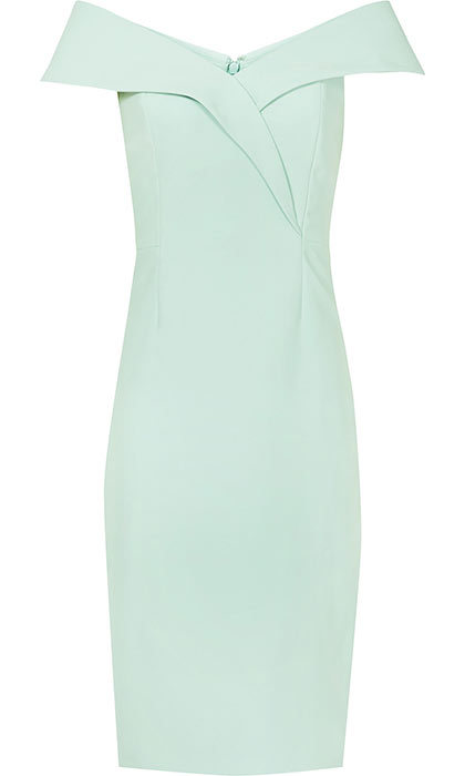 <p>Haddi Off-the-Shoulder Dress in Pale Green, $425, <em>reiss.com</em></p>