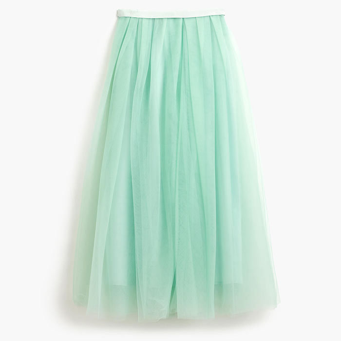 <p>Tulle Ball Skirt in Cool Mint, $259, <em>jcrew.com</em></p>