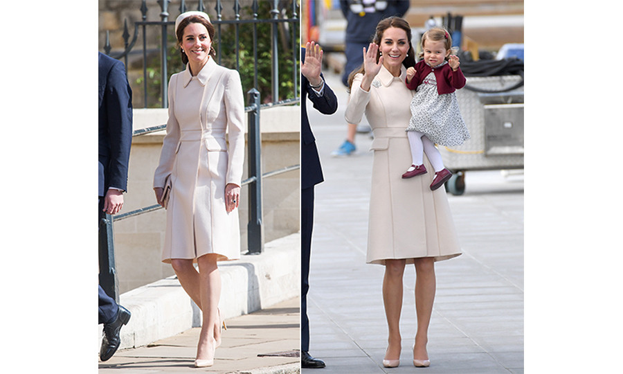 On Easter Sunday 2017, Kate attended church with her husband Prince William and the rest of the British Royal Family in an elegant Catherine Walker cream coat. The royal first wore the charming ensemble back in October when she waved goodbye to Canada after her family's week-long tour of the west coast. 