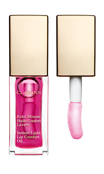 <p>Clarins Instant Light Lip Comfort Oil in Raspberry, $25, <em>clarins.ca</em></p>