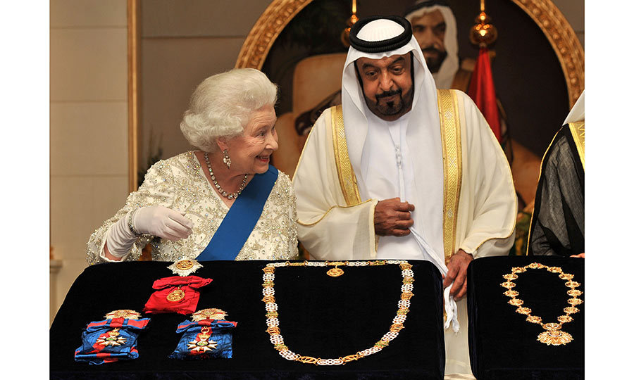 <h3>A SHOW AND TELL</h3><p>On a visit to Abu Dhabi in 2010, the Queen exchanged jewelled gifts with the president of the United Arab Emirates, Sheikh Khalifa bin Zayed al Nahyan, at the Mushrif Palace. The Queen was on a state visit to the Middle East with Prince Philip.</p><p>Photo: © Getty Images</p>