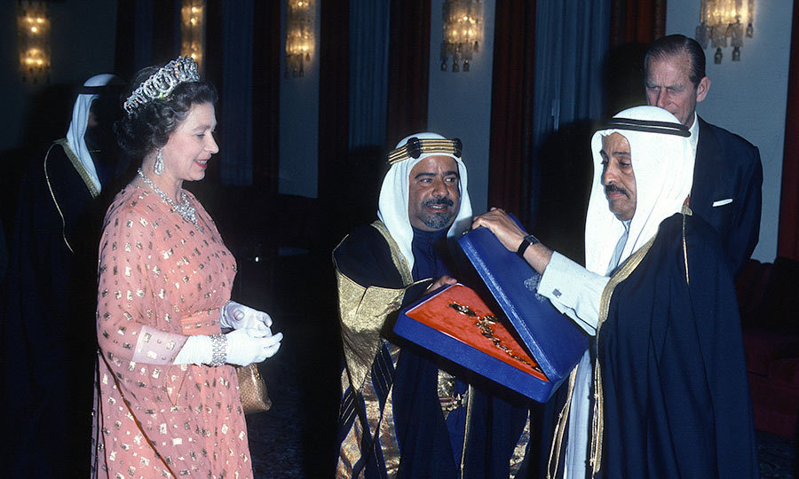 <h3>A BOX OF JEWELS</h3><p>On a visit to the Gulf States in 1979, the Queen was given jewels from the Emir of Bahrain. The lavish gift was added to Her Majesty's royal collection – in 1947, the ruler of Bahrain gave her a wedding present: a pearl shell containing seven large pearls.</p><p>Photo: &copy; Getty Images</p>