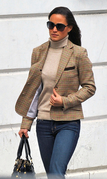 Pippa's schoolboy blazer got an update for autumn when she paired it with a turtleneck and jeans.