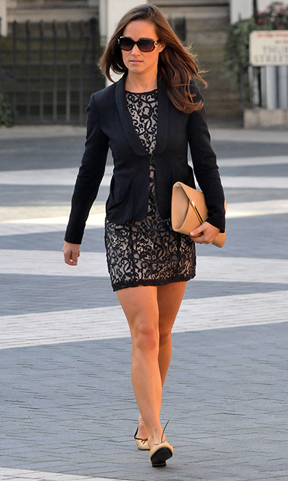 Pippa was all business in this navy and nude lace dress and navy blue blazer.