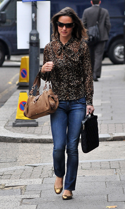 Pippa rarely wears prints, but when she does, like with this animal-print blouse, she looks chic and put-together.