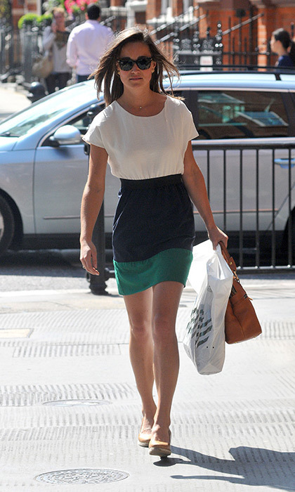 Looking lovely in a color-blocked dress while running errands.