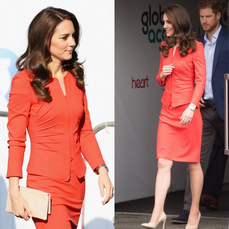 Kate wore vivid red Giorgio Armani as she joined husband Prince William and Prince Harry for a Heads Together engagement in London.