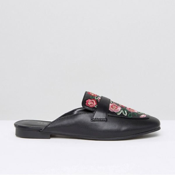 "<p>New Look Floral Embroidered Loafer Mule, $58, <a href=""http://us.asos.com/new-look/new-look-floral-embroidered-loafer-mule/prd/7864901?iid=7864901&clr=Black&SearchQuery=New%20Look%20Floral%20Embroidered%20Loafer%20Mule&SearchRedirect=true&affid=10607&pubref=1171&transaction_id=102450116f3780a131be7bdbfcbc32"" target=""_blank"">Asos</a>.</p>"