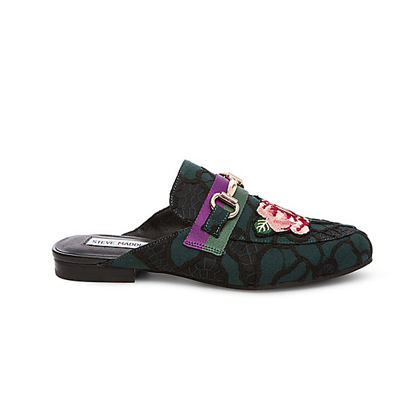 "<p>Kandi Mule Loafers, $110, <a href=""http://www.stevemadden.ca/product/KANDI/244979.uts?selectedColor=GREEN-MULTI"" target=""_blank"">Steve Madden</a>.</p>"