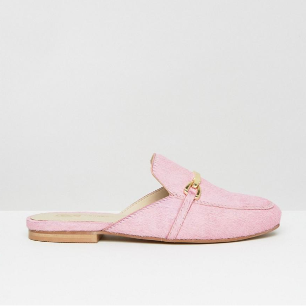 "<p>Movie Leather Mule Loafers, $70, <a href=""http://us.asos.com/asos/asos-movie-leather-mule-loafers/prd/7177842?iid=7177842&clr=Pink&SearchQuery=Movie%20Leather%20Mule%20Loafers&pgesize=2&pge=0&totalstyles=2&gridsize=3&gridrow=1&gridcolumn=2"" target=""_blank"">ASOS</a>.</p>"