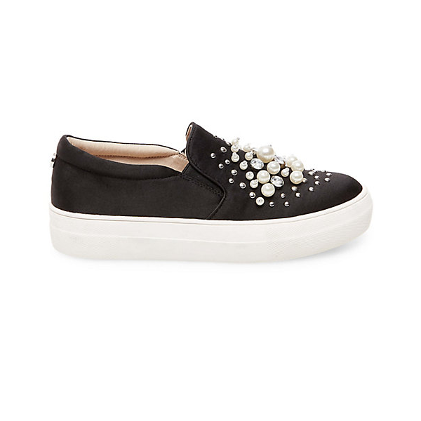 "<p>Glamour Pearl Slip-on Shoes, $120, <a href=""http://www.stevemadden.ca/product/GLAMOUR/246072.uts?selectedColor=BLACK-FABRIC"" target=""_blank"">Steve Madden</a>.</p>"