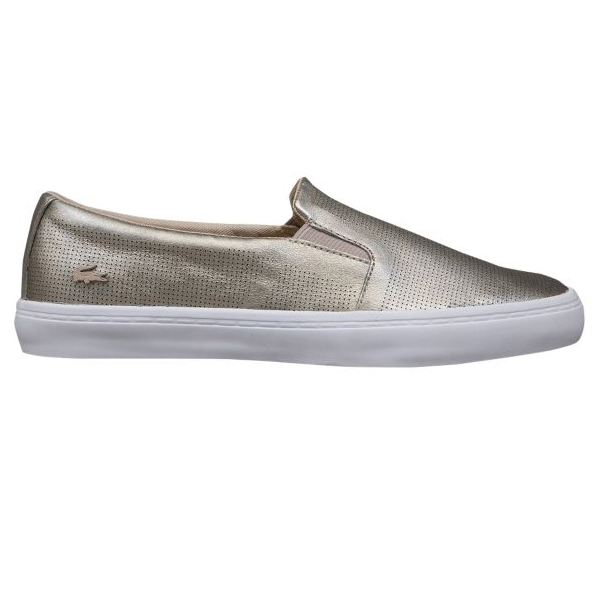 "<p>Lacoste Gazon Slip-on Sneaker in Gold, $80, <a href=""http://www.footlocker.ca/en-CA/product/model:262214/sku:5551694/lacoste-gazon-slip-on-womens/gold/white/"" target=""_blank"">Footlocker</a>.</p>"