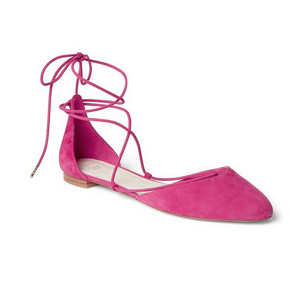 "<p>Suede Lace-up d'Orsay Flats, $65, <a href=""http://www.gapcanada.ca/browse/product.do?pid=520722003&vid=1&locale=en_CA&kwid=1&sem=false&sdkw=suede-lace-up-dorsay-flats-P520722&sdReferer=http%3A%2F%2Fwww.gapcanada.ca%2Fproducts%2Fwomens-flats.jsp"" target=""_blank"">Gap</a>.</p>"