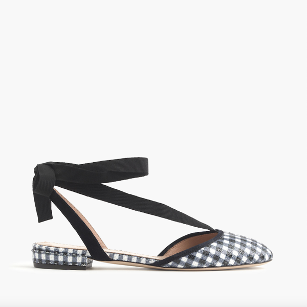"<p>Gingham Ankle-wrap Flats, $175, <a href=""https://www.jcrew.com/ca/p/womens_category/shoes/size5/gingham-anklewrap-flats/G0918"" target=""_blank"">J.Crew</a>.</p>"