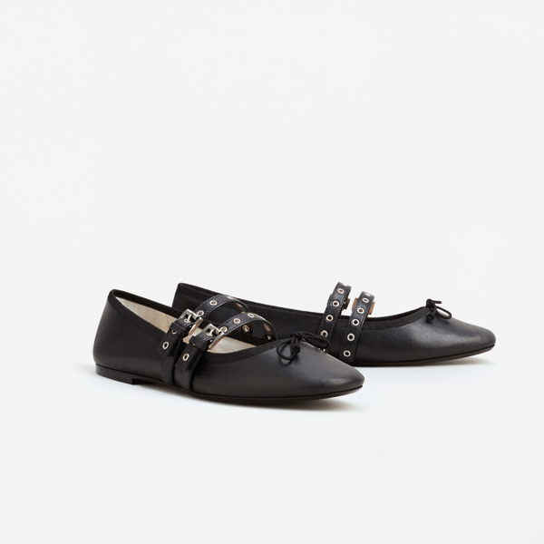 "<p>Decorative Buckles Leather Ballerina, $80, <a href=""http://shop.mango.com/CA/p0/woman/accessories/shoes/flat-shoes/decorative-buckles-leather-ballerina?id=83083585_99&utm_source=google&utm_medium=cpc&utm_campaign=Shopping%20%20-%20CA&gclid=CKWAlPSprtMCFZO6wAodwOcMew"" target=""_blank"">Mango</a>.</p>"