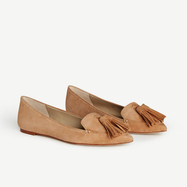"<p>Evan Suede Tassel Loafers, $166, <a href=""https://www.anntaylor.com/evan-suede-tassel-loafers/428899?skuId=22223586&amp;defaultColor=6600&amp;colorExplode=true&amp;catid=cata000020&amp;_requestid=1137345"" target=""_blank"">Ann Taylor</a>.</p>"
