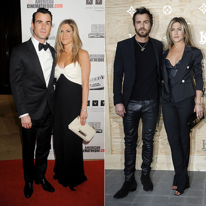 <h3>Jennifer Aniston and Justin Theroux</h3><p>We can&rsquo;t say &ldquo;opposites attract&rdquo; when it comes to this couple. The <em>Friends</em> star and her actor-screenwriter husband are a perfect fit when it comes to wardrobe choices. Whether they&rsquo;re looking sophisticated or rock and roll on the red carpet, they stick to the same script. &ldquo;What works for me as far as my style is that I don&rsquo;t change it very often,&rdquo; says Jennifer.</p><p>Photo: &copy; Getty Images</p>