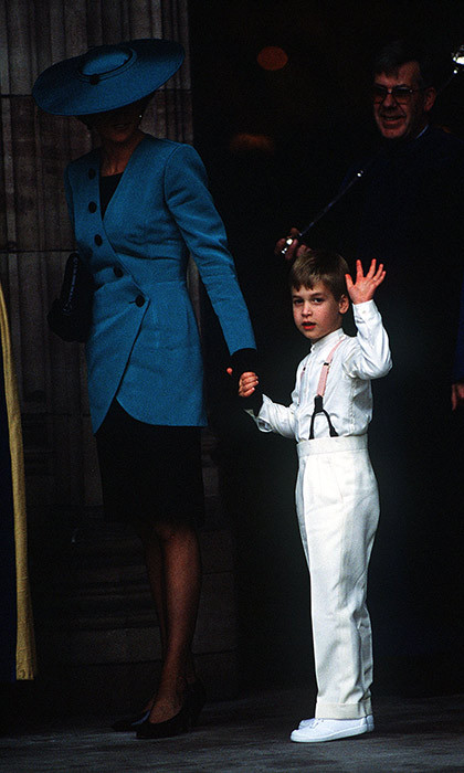 Prince William held his mum's, Diana, Princess of Wales, hand as they entered the church. Diana looked stylish in a royal blue ensemble, and waited patiently for her son as he gave a wave to the cameras before entering the church.