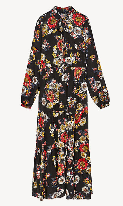 <p>Long Dress With Floral Print, $70, <em>zara.com</em></p>