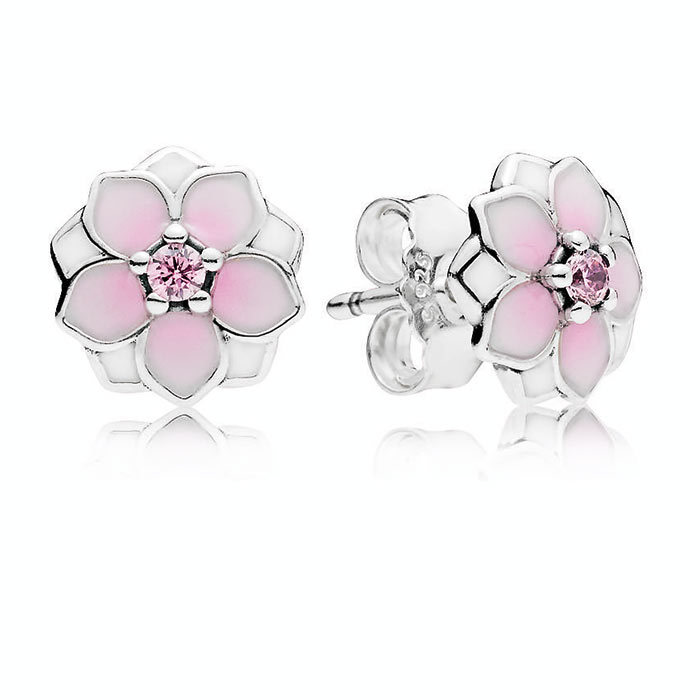 <p>Magnolia Bloom, Pale Cerise Enamel and Pink CZ Earrings, $55, <em>pandora.net</em></p>