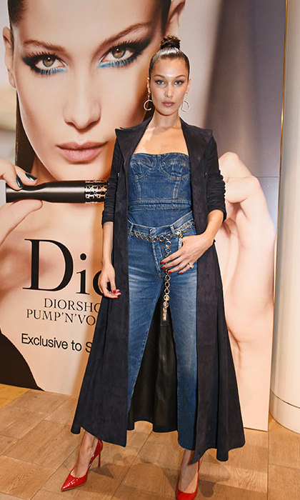 Bella Hadid looked achingly cool in double denim at the launch of the Dior Pump 'N' Volume Mascara.