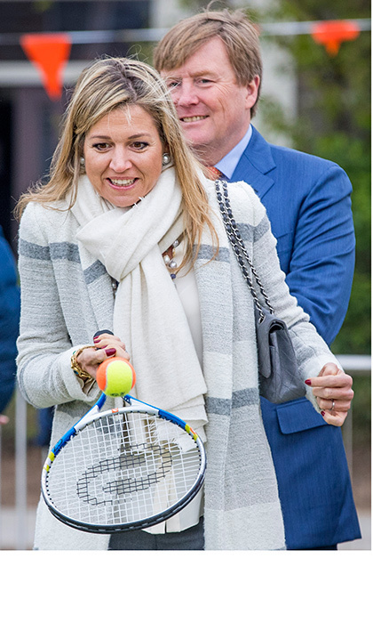 Queen Maxima of the Netherlands got a chance to show off her tennis skills on April 21. The royal and her husband, King Willem-Alexander, attended the King's Games youth sport day at De Vijfmaster school in Veghel, Netherlands.