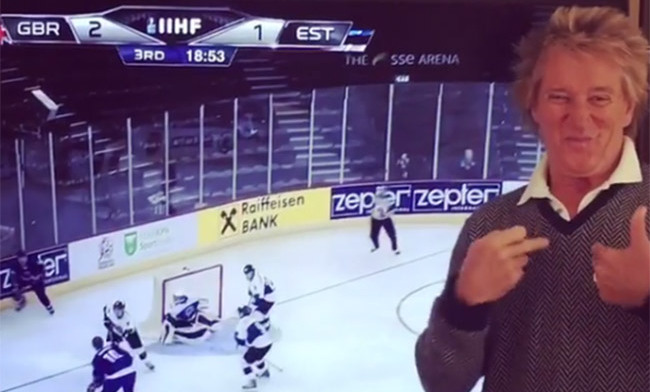 Sir Rod Stewart celebrates son Liam's hockey goal - see the sweet video.