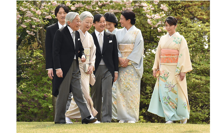 The season is in full bloom! Japan's Emperor Akihito, front left, and Empress Michiko hosted a very elegant spring garden party alongside fellow members of the royal family at the Akasaka Palace in Tokyo on April 20. 