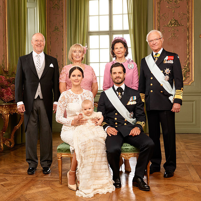 The happy family joined by Alexander's grandparents, King Carl XVI Gustaf and Queen Silvia of Sweden, right, and Marie and Erik Hellqvist.