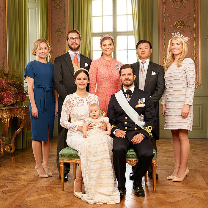 Here, with his godparents, from left to right, Princess Sofia's sister Lina Frejd, Victor Magnuson, Crown Princess Victoria, Jan-Åke Hansson, and Cajsa Larsson.