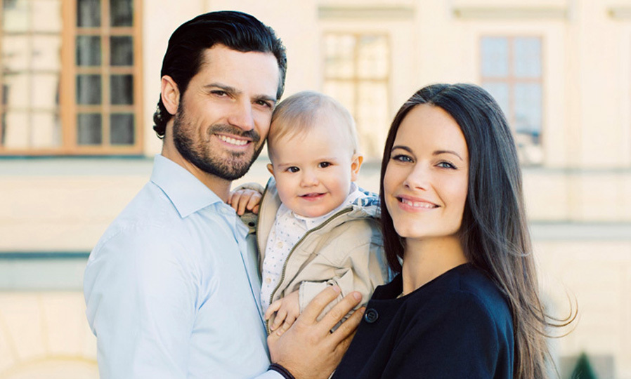Prince Carl Philip and Princess Sofia proudly pose with their little birthday boy.