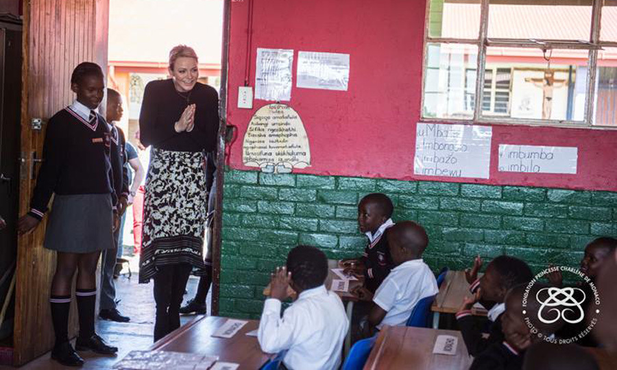 Princess Charlene traveled to Africa and visited Gugulesizwe Primary School in Daveyton, Johannesburg, where she first launched her foundation in 2012.