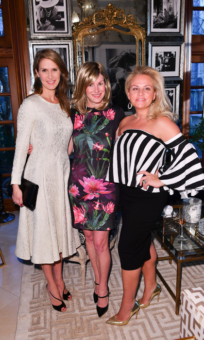 <h4>Suzanne Rogers Hosts Dinner with Emilia Wickstead</h4><p>Caroline Mulroney Lapham, Jennifer Payette and Melinn Godfrey</p><p>Photo: © George Pimentel Photography</p>