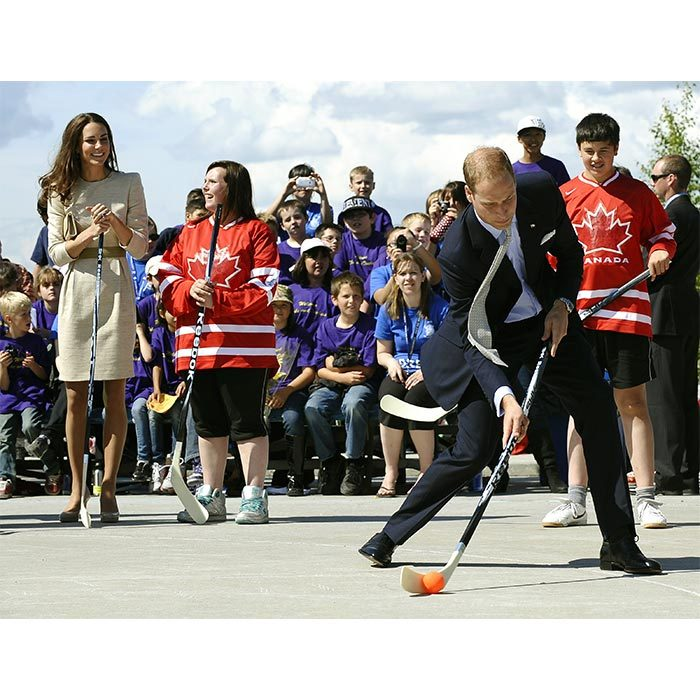 The royal couple are always open to try out a new sport! They were seen having the time of their lives as they played street hockey for the first time during their Canadian tour in Yellowknife in 2011.