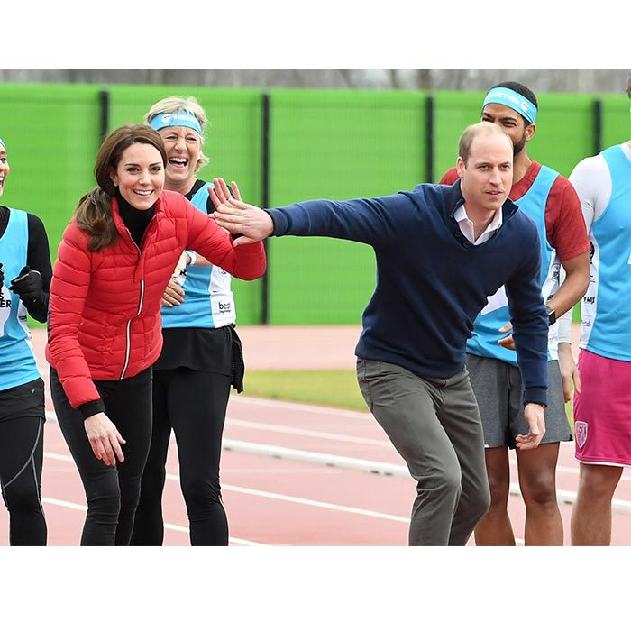 Prince William and Kate teased each other before racing one another down the track at London's Queen's Elizabeth Stadium.