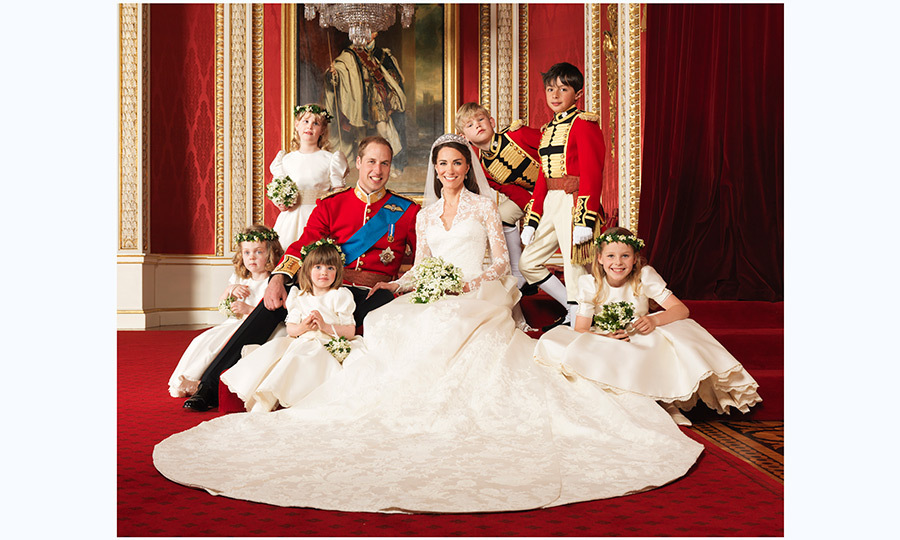 William and Kate with their pageboys and flower girls (clockwise from bottom right) <strong>Margarita Armstrong-Jones</strong>, <strong>Eliza Lopes</strong>, <strong>Grace van Cutsem</strong>, <strong>Louise Windsor</strong>, <strong>Tom Pettifer</strong>, <strong>William Lowther-Pinkerton</strong>. The photoswas taken in the throne room at Buckingham Palace.