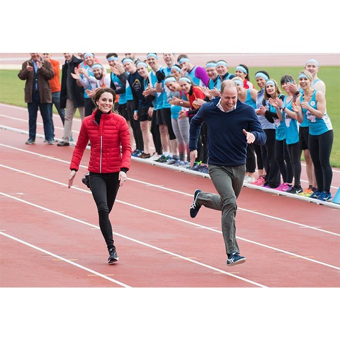 Run Kate and Will! The duchess tried her best to keep up with her husband during the friendly sprint. There were no losers in this race as the event was to raise awareness for mental health. 