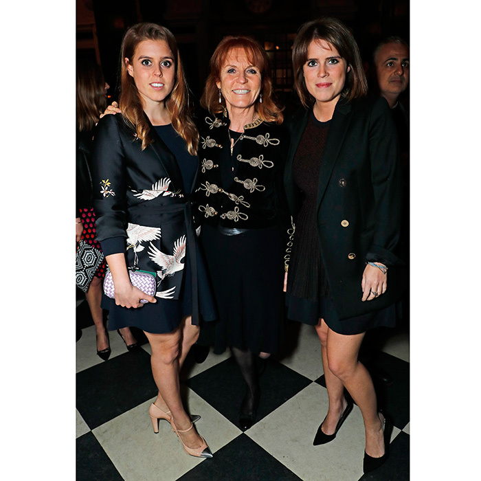 At the launch of The Ned, London, Sarah, Duchess of York and her daughters showed that they love high-low fashion! Princess Beatrice, left, wore a jacket from Zara's spring collection, while her mom donned the same military-style jacket from the brand that daughter Beatrice was spotted wearing last year.