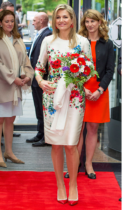 Queen Maxima of the Netherlands was all about spring blossoms for the W20 conference in Berlin, Germany. 