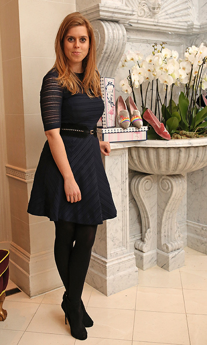 Princess Beatrice of York continued her stylish week in a knit skater dress at a VIP dinner celebrating Mrs Alice for French Sole at The Connaught Hotel in London.
