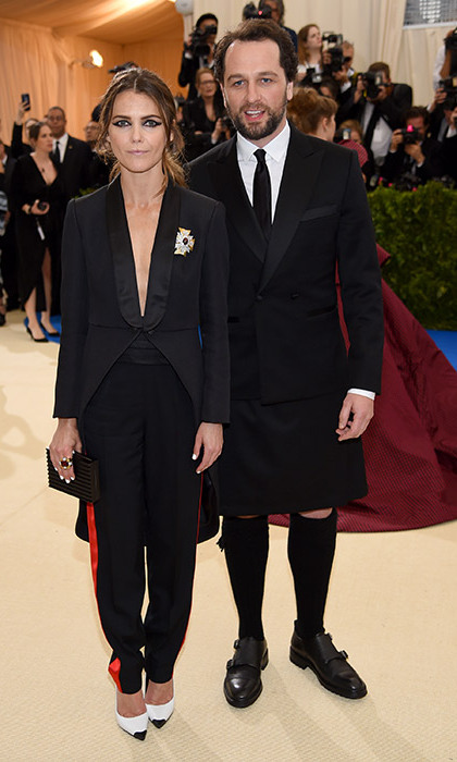 Keri Russell and Matthew Rhys turned heads when they arrived for the gala in opposite outfits. The <em>Americans</em> co-stars, who have been together since 2013, seemed to have swapped clothes, with Keri choosing to wear tuxedo trouser suit and her partner stepping out in a traditional Welsh kilt, which he teamed with a suit, tie and jacket.