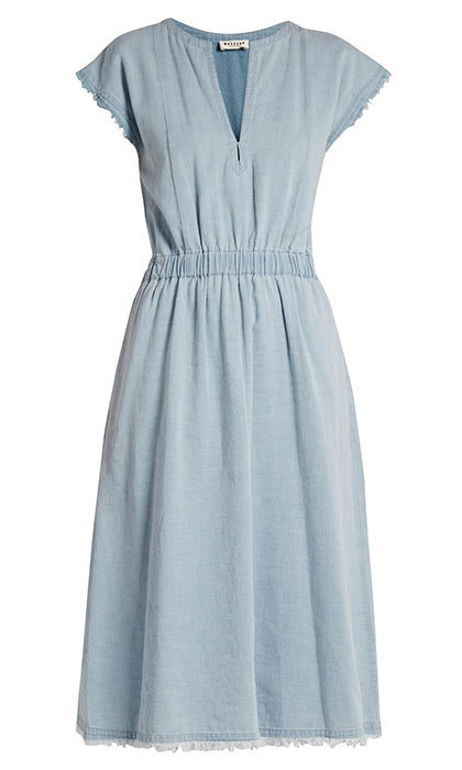 <p>Masscob Frayed-hem V-neck Denim Dress, $490, <em>matchesfashion.com</em></p>