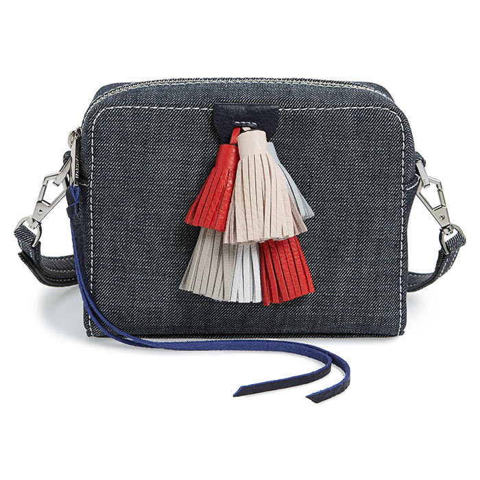 <p>Rebecca Minkoff Mini Sofia Denim Crossbody Bag, $300, <em>rebeccaminkoff.com</em></p>