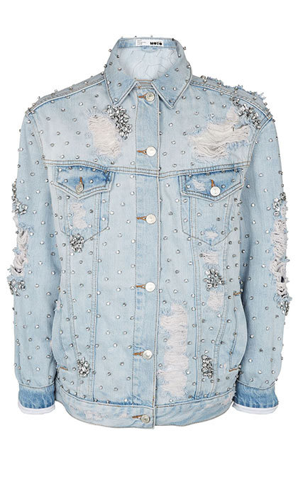 <p>Moto Denim Diamond Jacket, $290, <em>topshop.com</em></p>