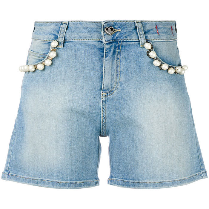 <p>Twin-set Pearl Embellished Denim Shorts, $219, <em>farfetch.com</em></p>